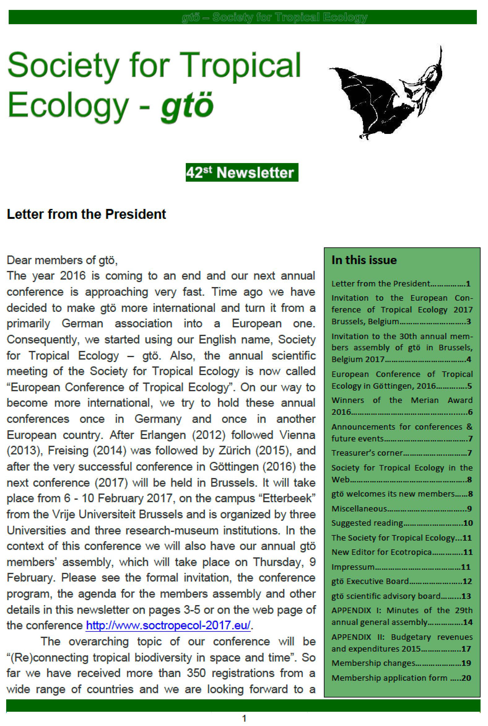 42th newsletter gtö